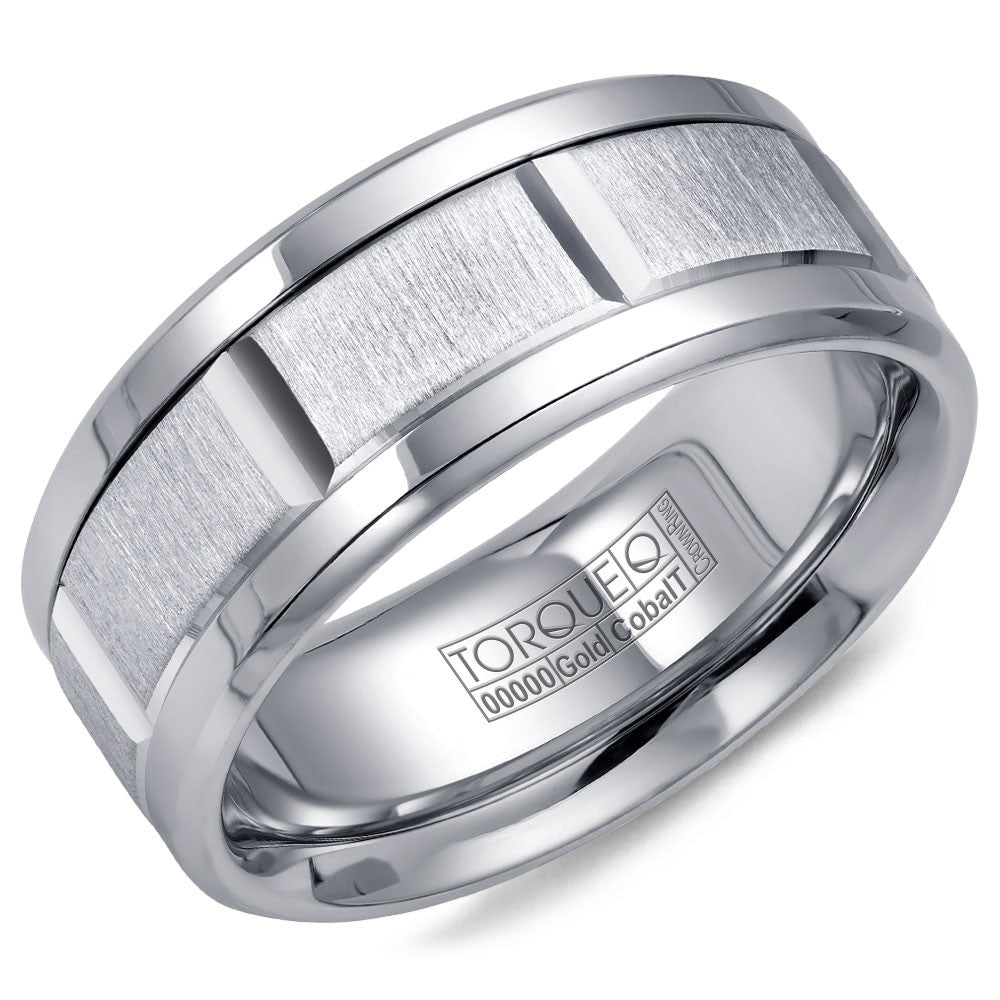 Torque Cobalt & Gold Collection 9MM Wedding Band with White Gold Center CW043MW9