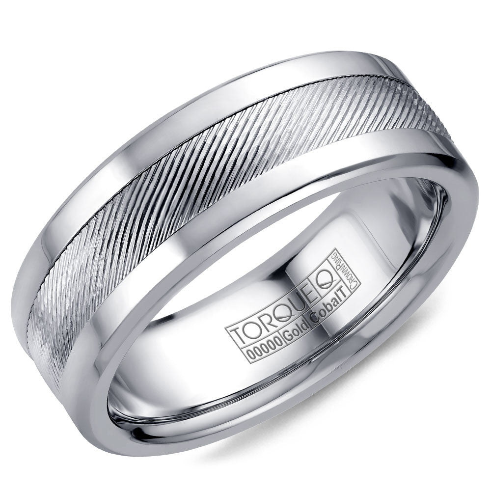 Torque Cobalt & Gold Collection 7.5MM Wedding Band with White Gold Center CW044MW75