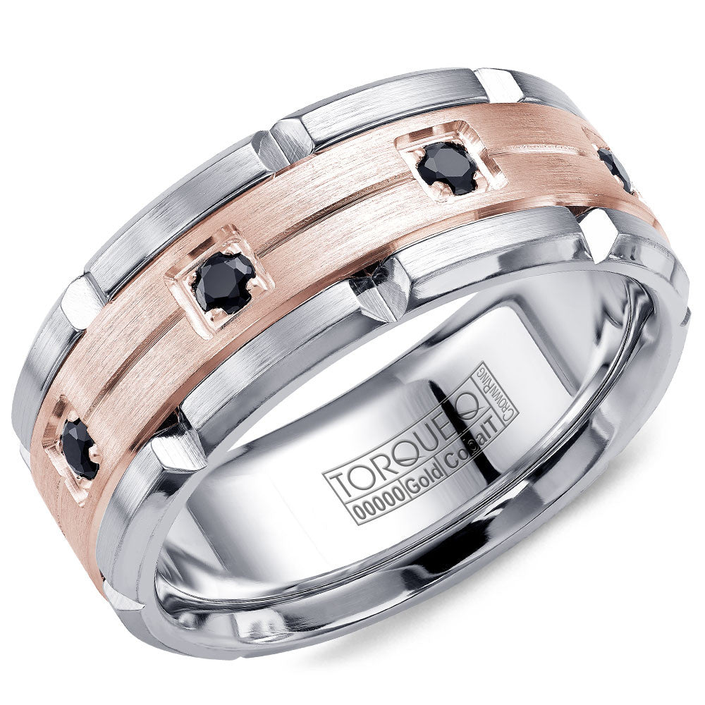Torque Cobalt & Gold Collection 9MM Wedding Band with Rose Gold Center & 8 Black Diamonds CW046MR9