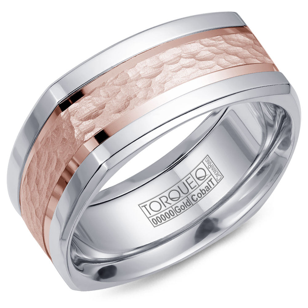Torque Cobalt & Gold Collection 9MM Wedding Band with Rose Gold Center CW052MR9