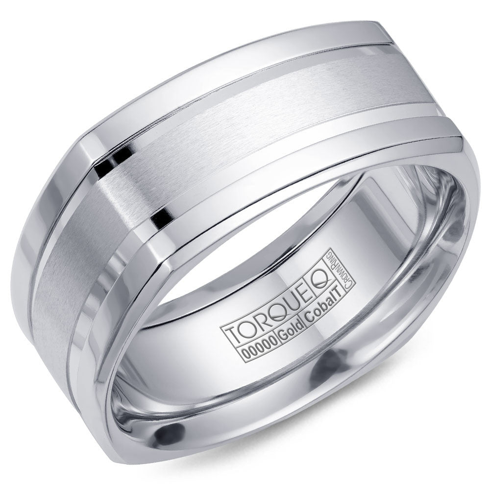 Torque Cobalt & Gold Collection 9MM Wedding Band with White Gold Center CW054MW9