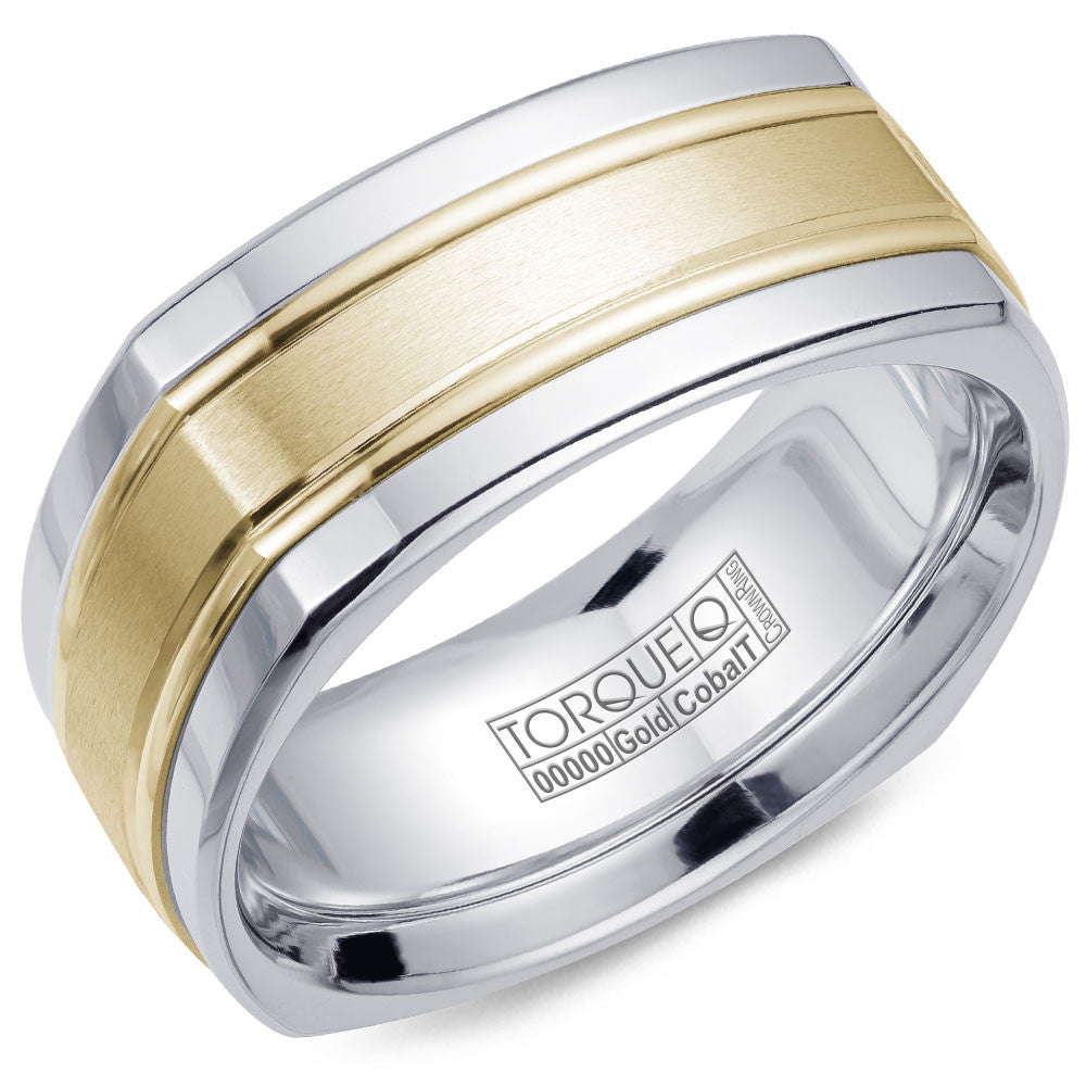 Torque Cobalt & Gold Collection 9MM Wedding Band with Yellow Gold Center CW057MY9