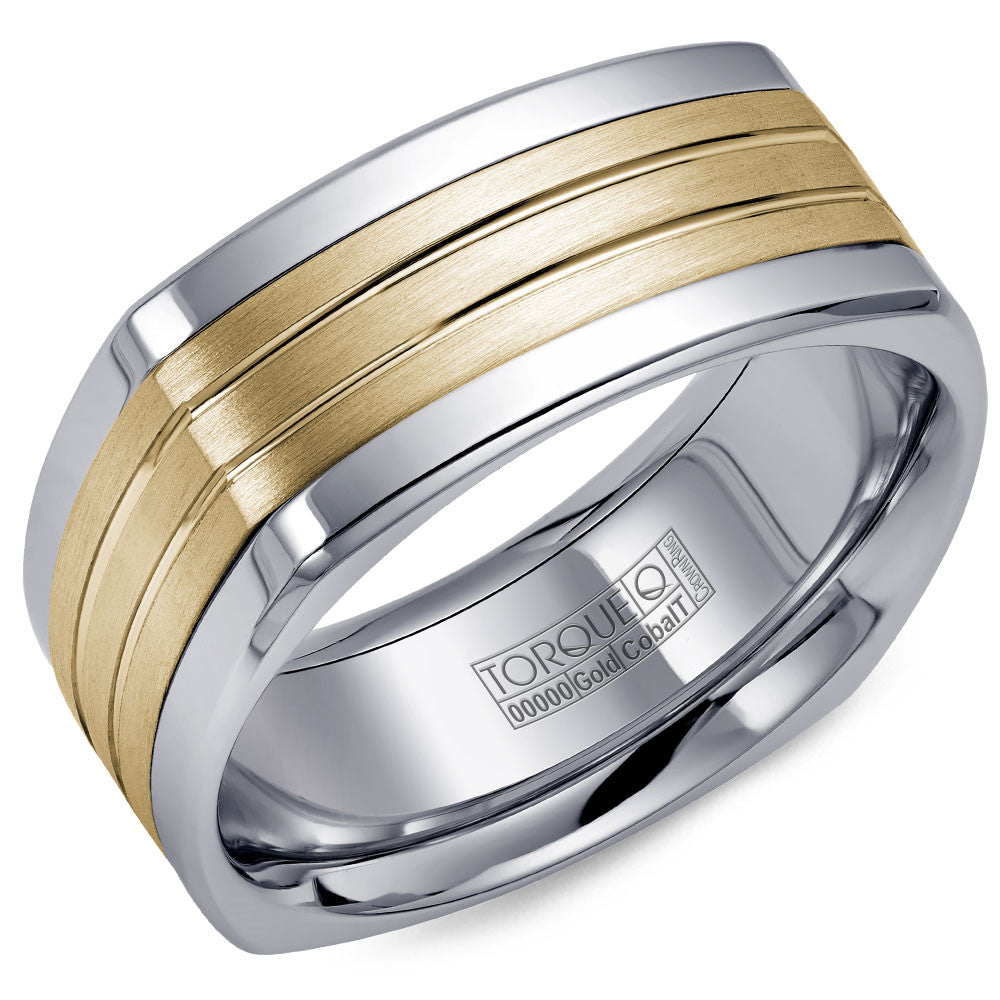Torque Cobalt & Gold Collection 9MM Wedding Band with Yellow Gold Center CW061MY9
