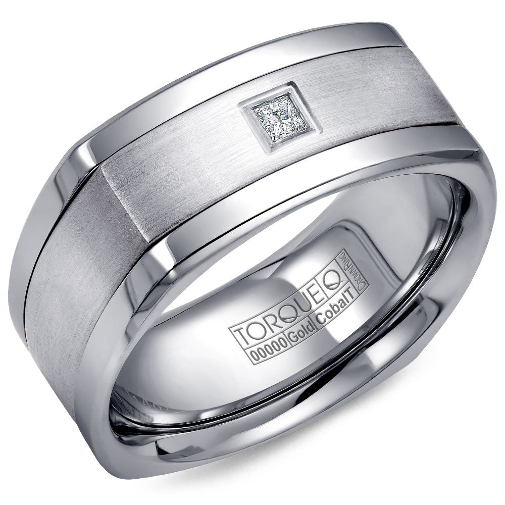 Torque Cobalt & Gold Collection 9MM Wedding Band with White Gold Center & 1 Princess Diamond CW065MW9