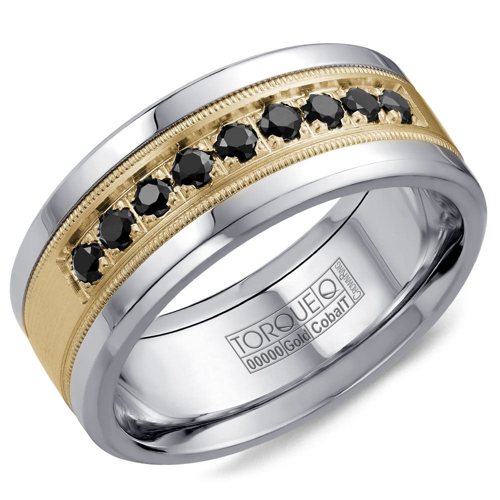 Torque Cobalt & Gold Collection 9MM Wedding Band with Yellow Gold Center & 9 Black Diamonds CW076MY9