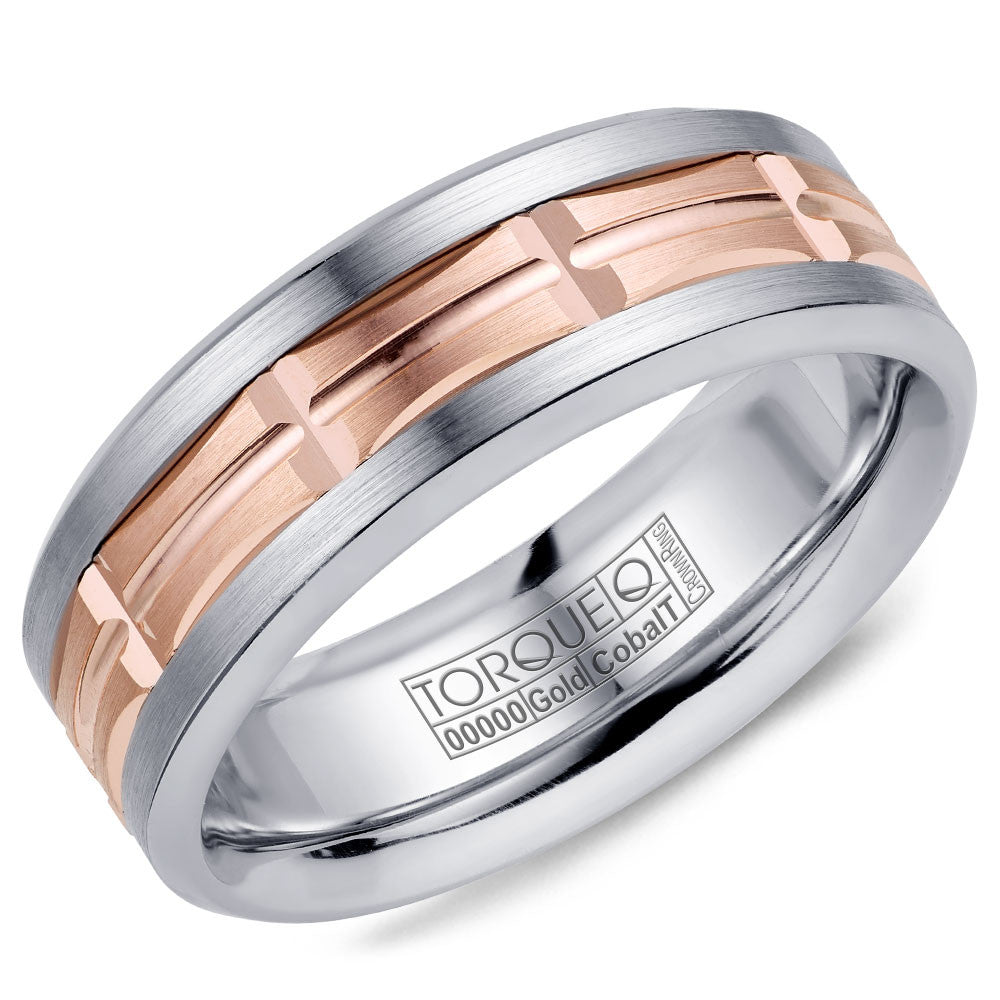 Torque Cobalt & Gold Collection 7.5MM Wedding Band with Rose Gold Center CW100MR75