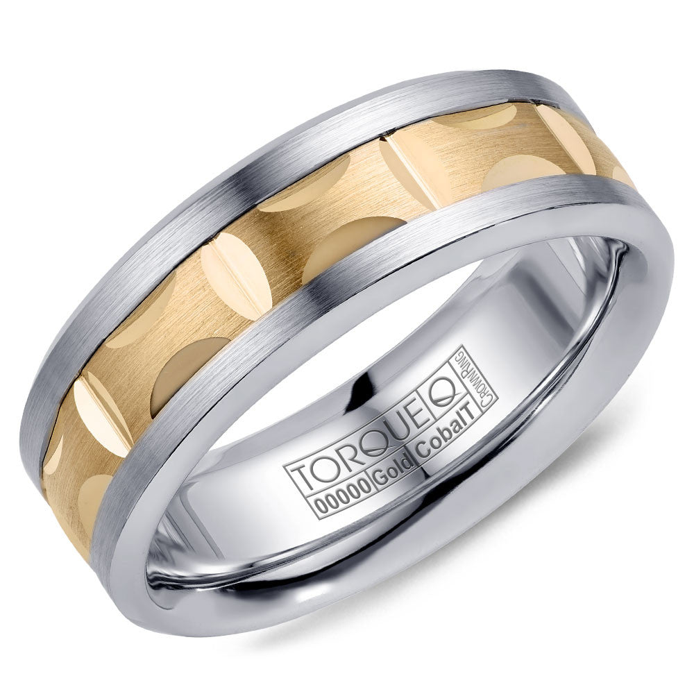 Torque Cobalt & Gold Collection 7.5MM Wedding Band with Yellow Gold Center CW101MY75