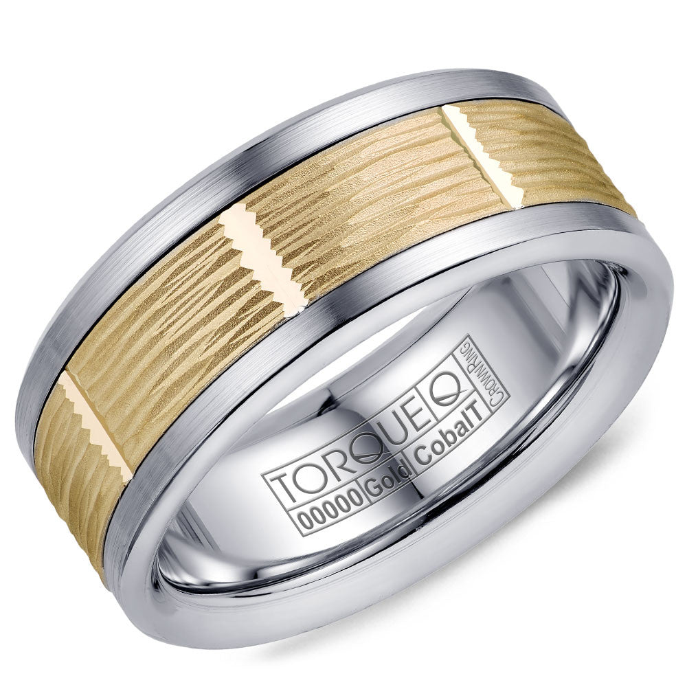 Torque Cobalt & Gold Collection 9MM Wedding Band with Yellow Gold Center CW102MY9