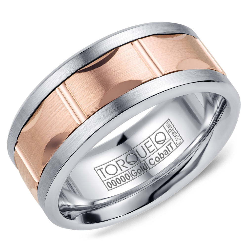 Torque Cobalt & Gold Collection 9MM Wedding Band with Rose Gold Center CW103MR9