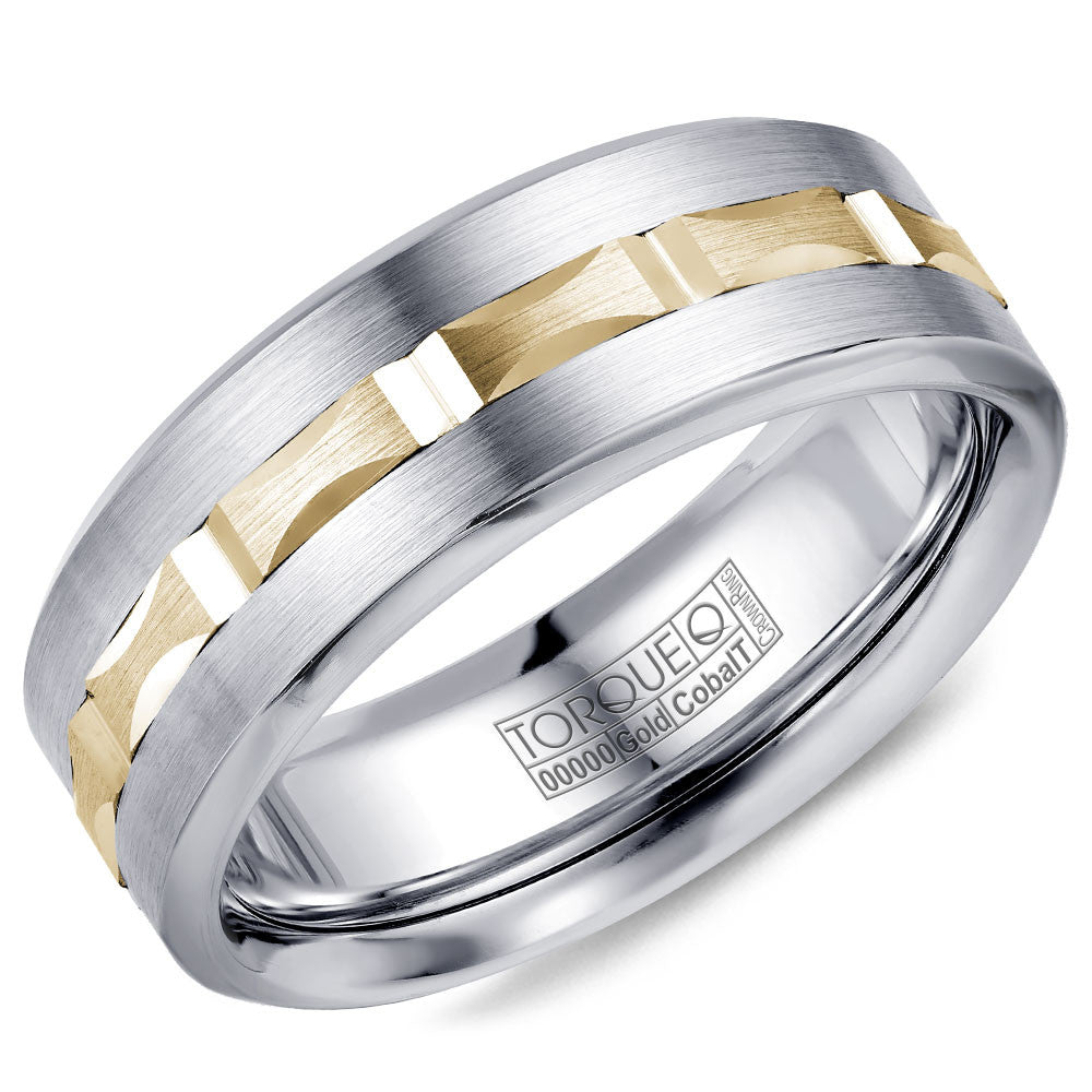Torque Cobalt Gold Collection 7 5mm Wedding Band With Yellow Gold