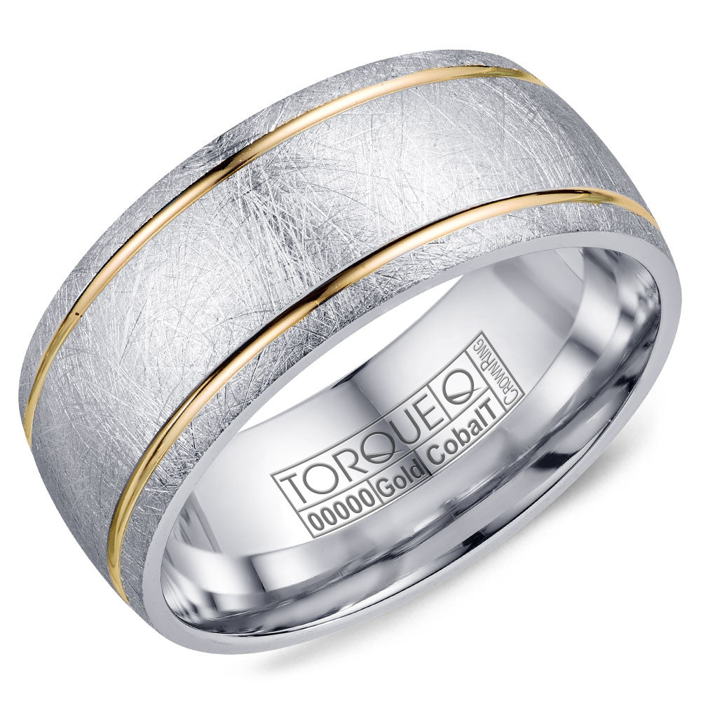 Torque Cobalt & Gold Collection 9MM Wedding Band with Yellow Gold Center CW105MY9