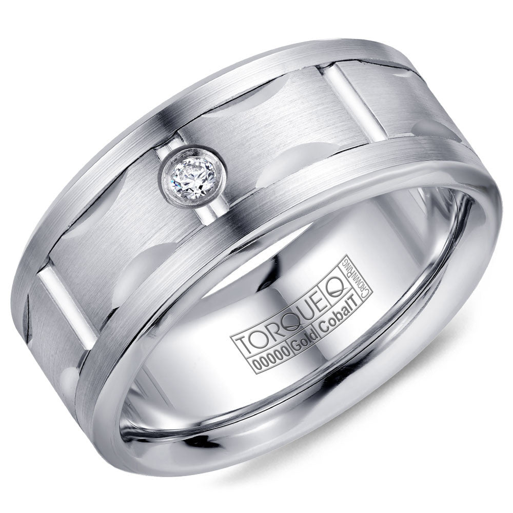Torque Cobalt & Gold Collection 9MM Wedding Band with White Gold Center & 1 Diamond CW108MW9