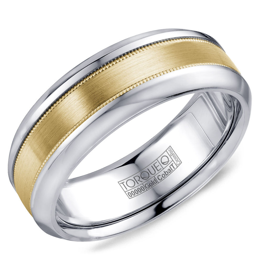 Torque Cobalt & Gold Collection 7.5MM Wedding Band with Yellow Gold Center CW109MY75