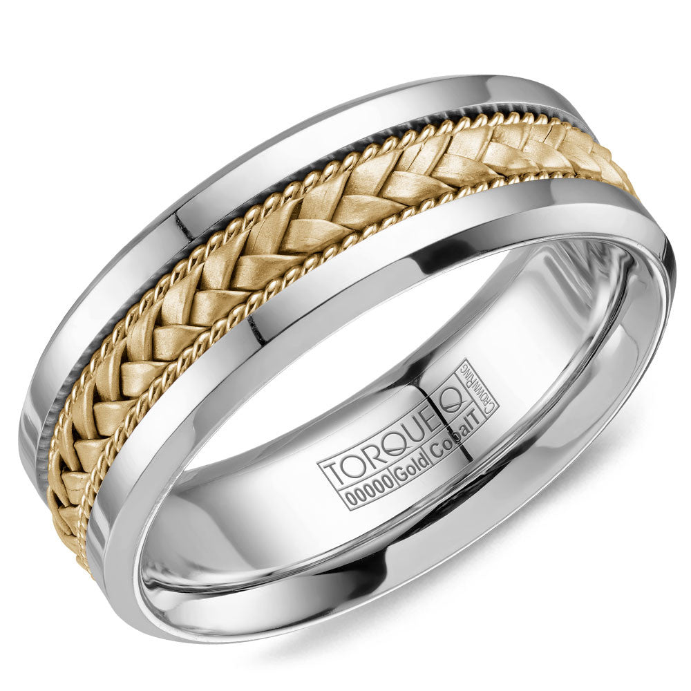 Torque Cobalt & Gold Collection 7.5MM Wedding Band with Yellow Gold Center CW110MY75