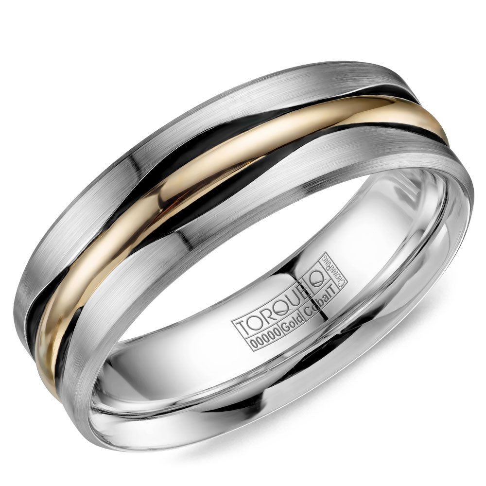 Torque Cobalt & Gold Collection 7.5MM Wedding Band with Yellow Gold Center CW112MY75