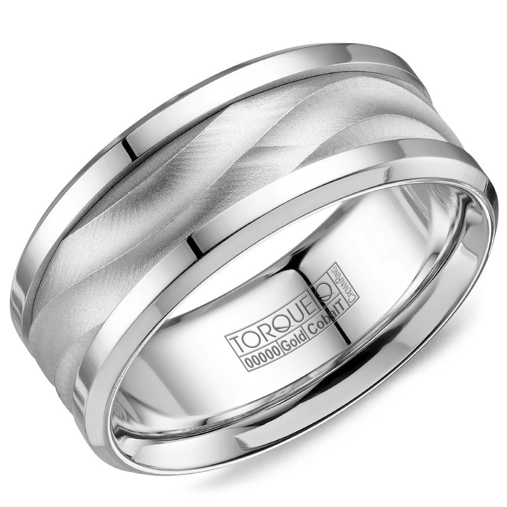Torque Cobalt & Gold Collection 9MM Wedding Band with White Gold Center CW113MW9