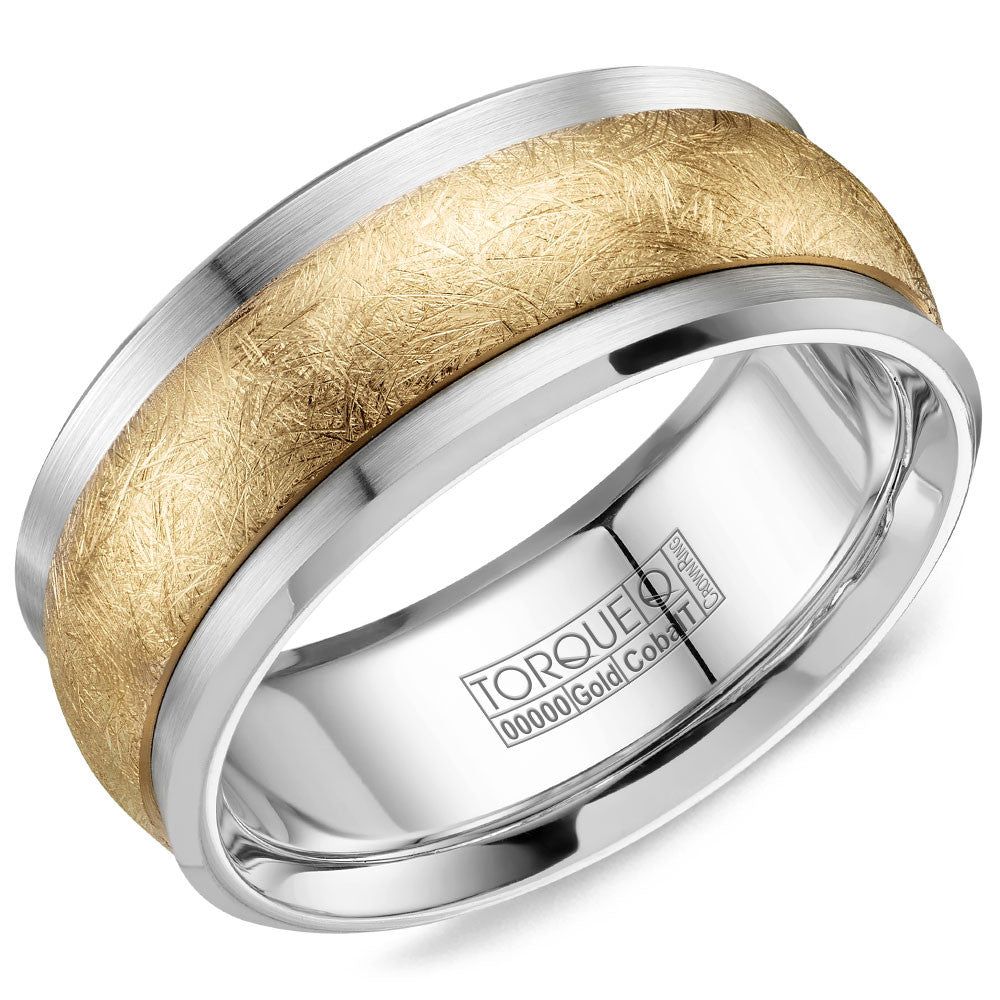 Torque Cobalt & Gold Collection 9MM Wedding Band with Yellow Gold Center CW115MY9