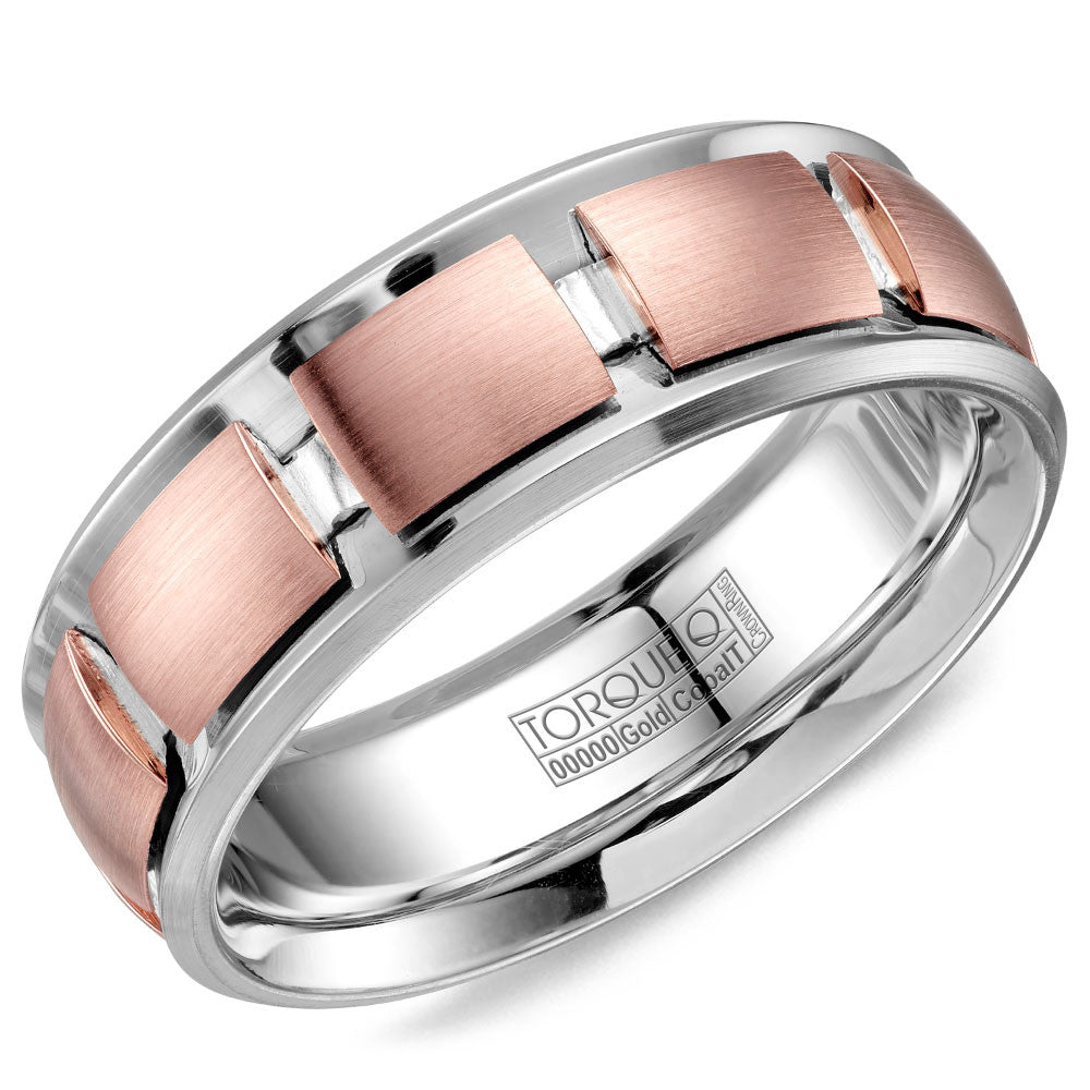 Torque Cobalt & Gold Collection 7.5MM Wedding Band with Rose Gold Center CW116MR75