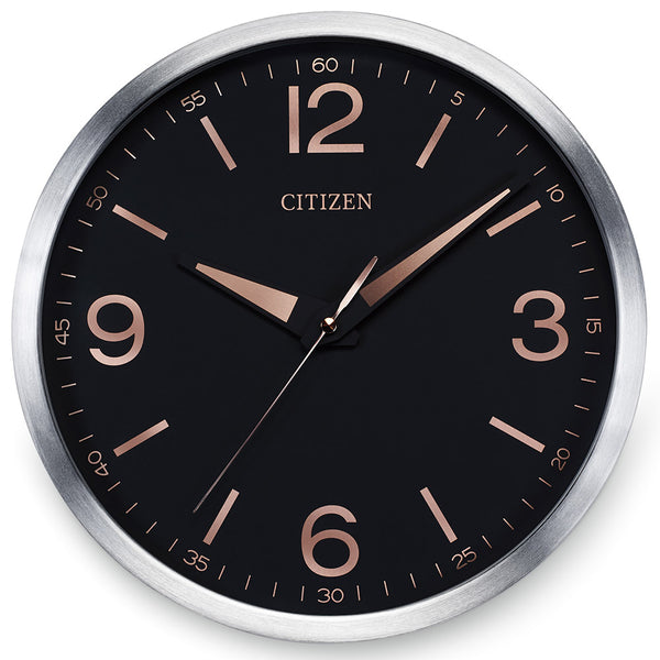 Citizen Gallery Brushed Silver-Tone with Black Dial Wall Clock CC2002