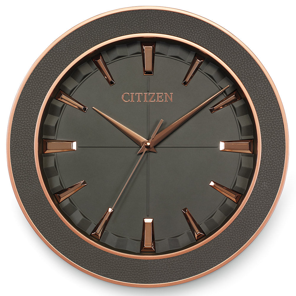 Citizen Gallery Grey Leather with Textured Grey Dial Wall Clock CC2011