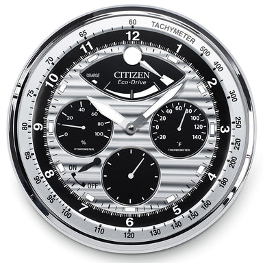 Citizen Gallery Silver-Tone with Silver/Black Dial Hygrometer Luminescent Wall Clock CC2013