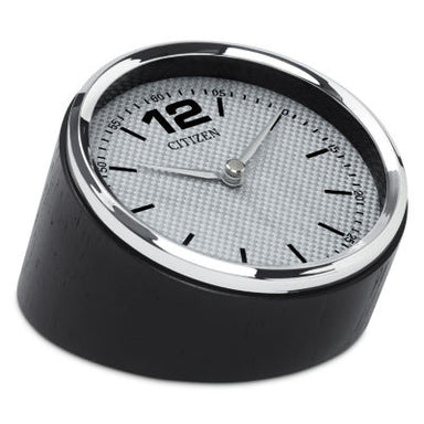 Citizen Decorative Silver-Tone Frame/Carbon Fiber Dial Desk Clock w/ Black Wood Base CC1013