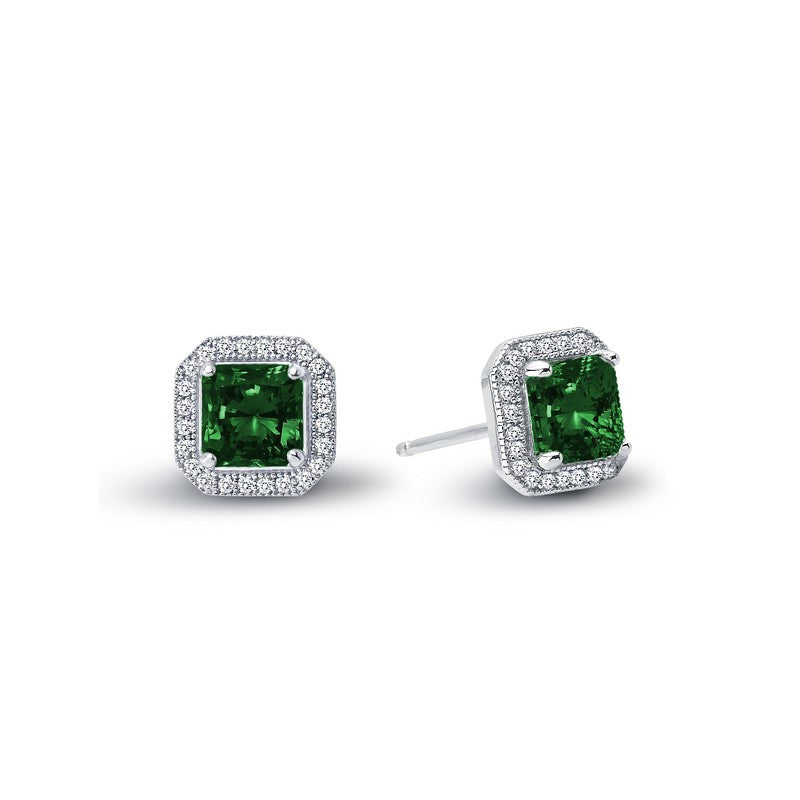 Lafonn Signature Lassaire Simulated Diamond and Emerald Square Halo Earrings E0038CEP
