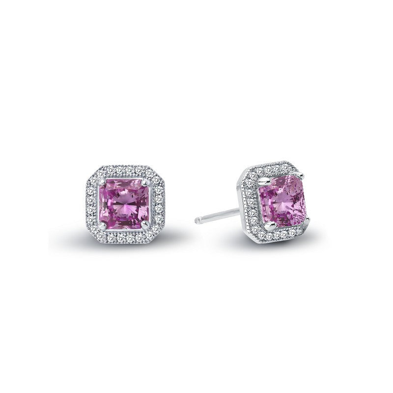 Lafonn Signature Lassaire Simulated Diamond and Pink Sapphire Square Halo Earrings E0038CPP