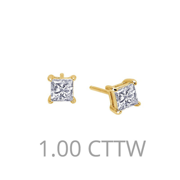 Lafonn Signature Lassaire Simulated Princess Diamond 1.00ct Stud Earrings E0113CLG