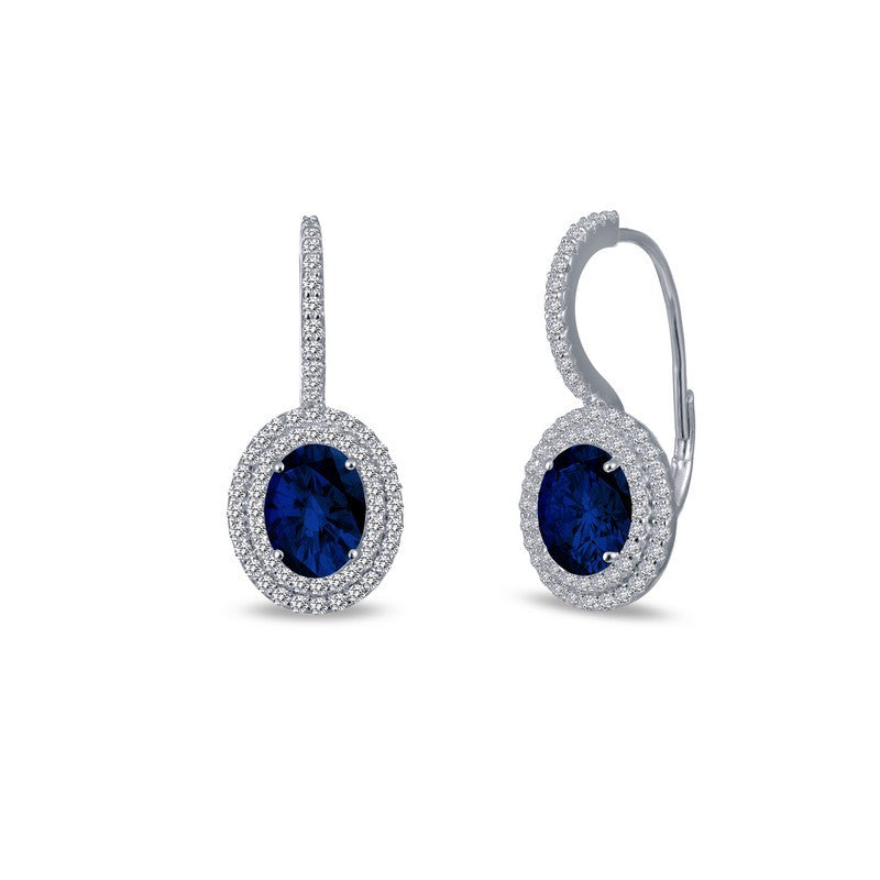 Lafonn Signature Lassaire Simulated Diamond and Sapphire Oval Leverback Earrings E0216CSP