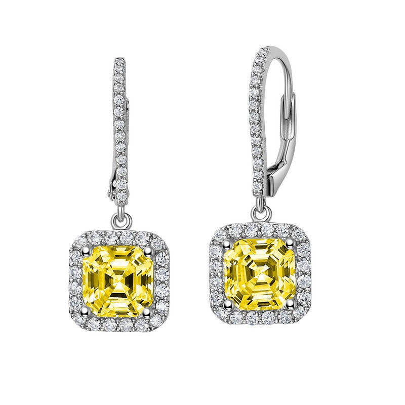 Lafonn Signature Lassaire Simulated Diamond and Canary Leverback Asscher-Cut Halo Earrings E0224CAP