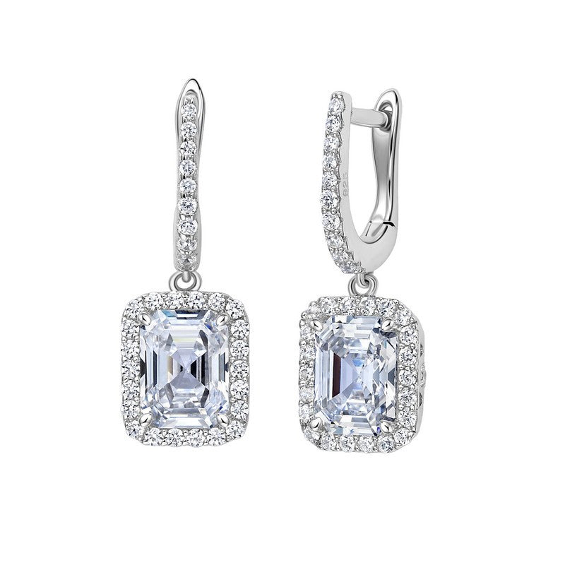 Lafonn Signature Lassaire Simulated Diamond Drop Asscher-Cut Halo Earrings E0225CLP