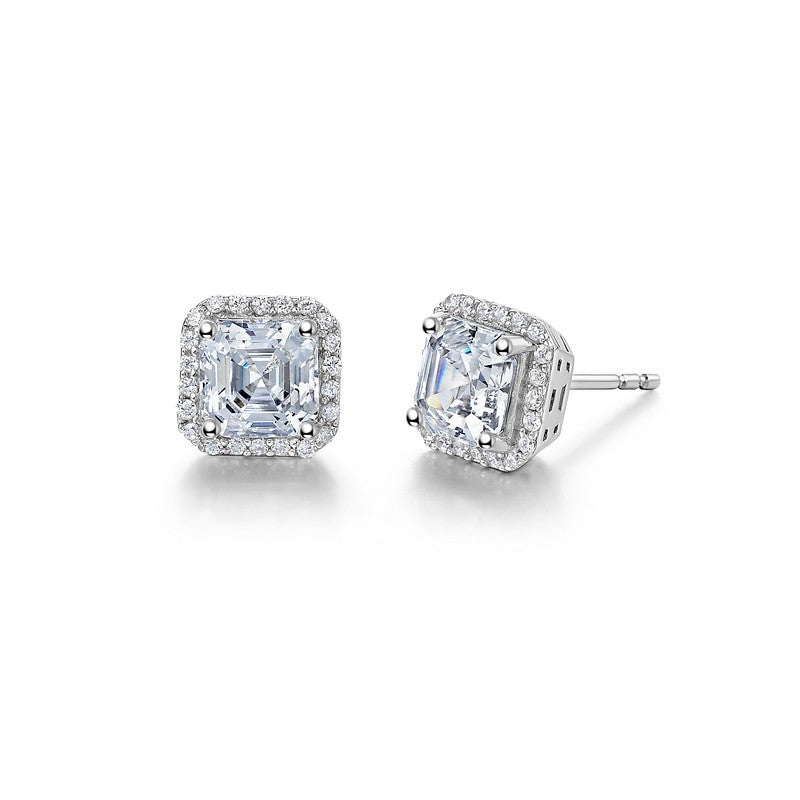 Lafonn Signature Lassaire Simulated Diamond Asscher-Cut Halo Earrings E0228CLP