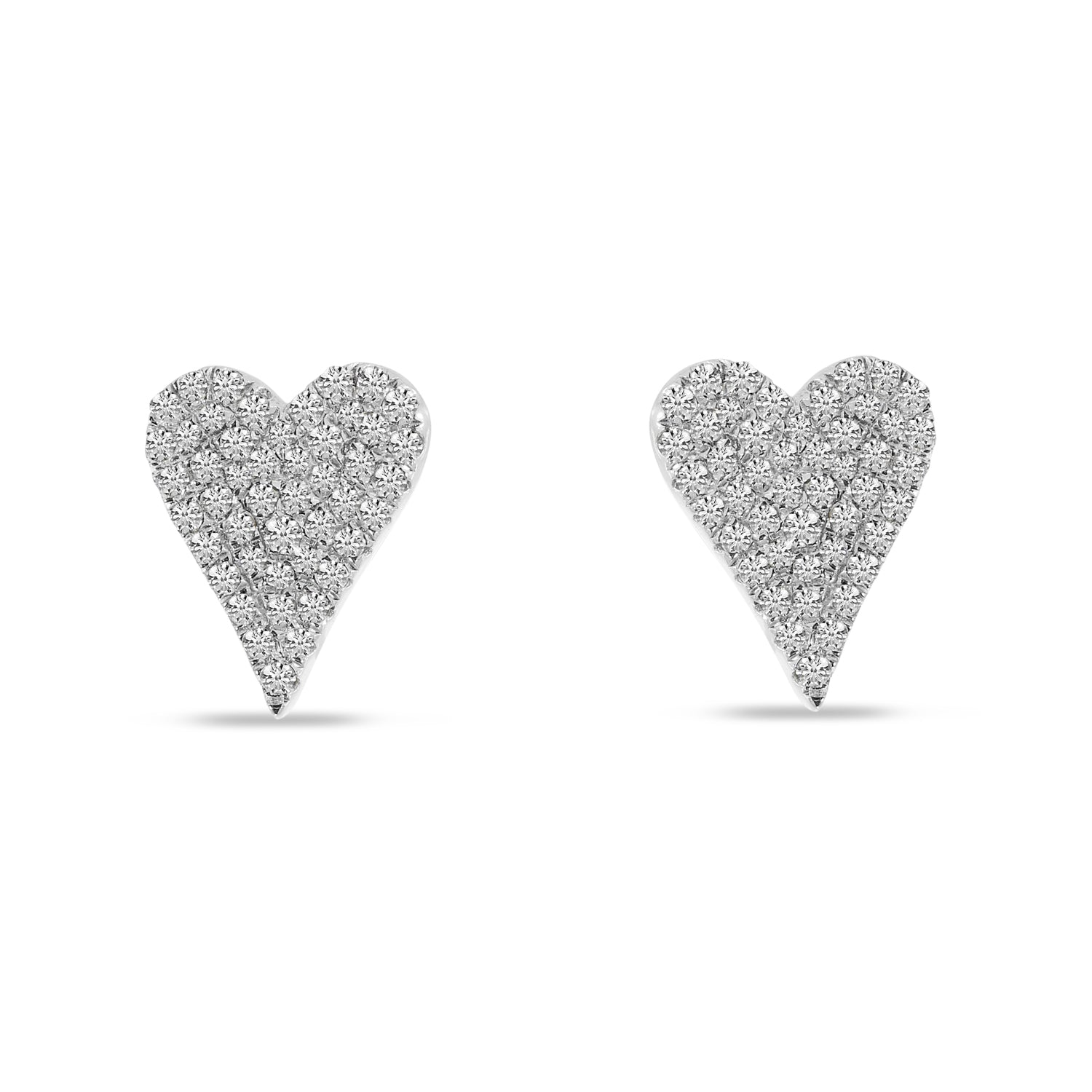 14K White Gold Small Pave 0.28ct. Diamond Heart Earrings