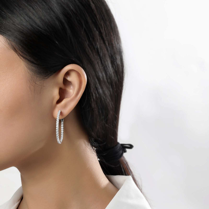 Lafonn Signature Lassaire Simulated Diamond Inside & Out 30mm Hoop Earrings E3017CLP