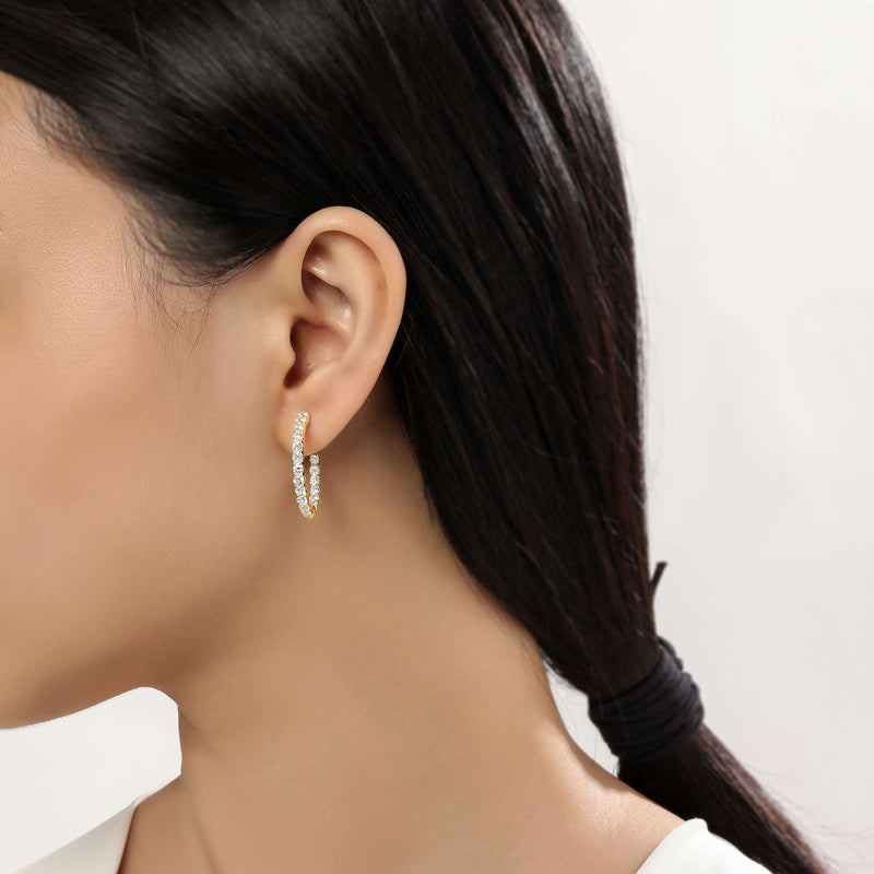 Lafonn Signature Lassaire Simulated Diamond Inside & Out 20mm Hoop Earrings E3018CLG