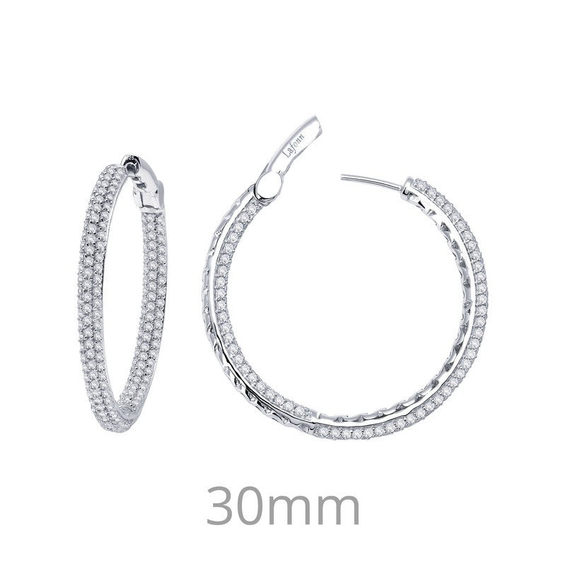 Lafonn Signature Lassaire Simulated Diamond Inside & Out 30mm Hoop Earrings E3023CLP