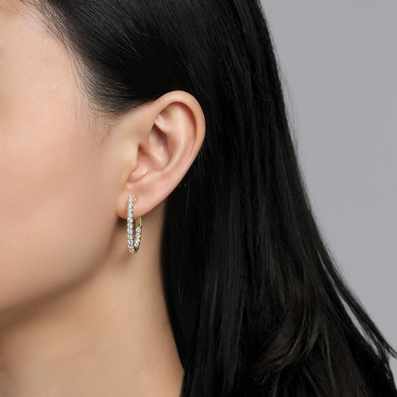 Lafonn Signature Lassaire Simulated Diamond Oval 16x20mm Inside & Out Hoop Earrings E3026CLG