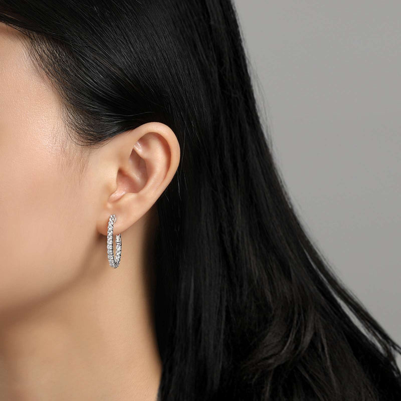 Lafonn Signature Lassaire Simulated Diamond Oval 16x20mm Inside & Out Hoop Earrings E3026CLP