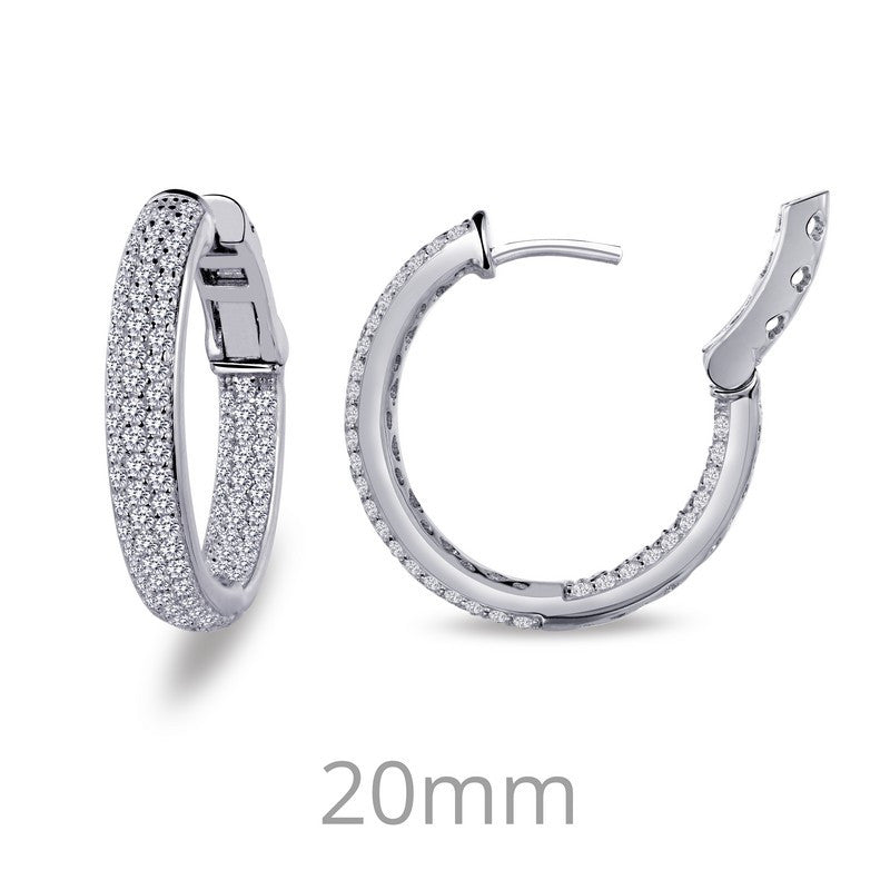 Lafonn Signature Lassaire Simulated Diamond Inside & Out 20mm Hoop Earrings E3027CLP