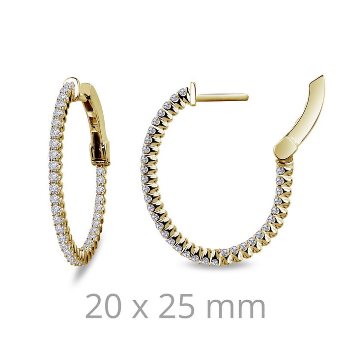 Lafonn Signature Lassaire Simulated Diamond Oval 20x25mm Inside & Out Hoop Earrings E3030CLG