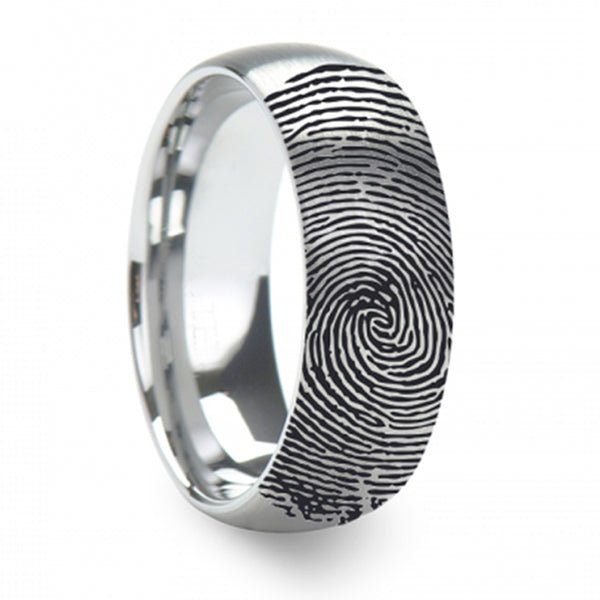 Thorsten Fingerprint Engraved Domed Brushed Tungsten Ring Brushed Ring (4-8mm) F1299-FBBT