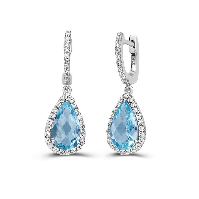 Lafonn Signature Lassaire Simulated Diamond Genuine Blue Topaz Earrings GE001BTP00