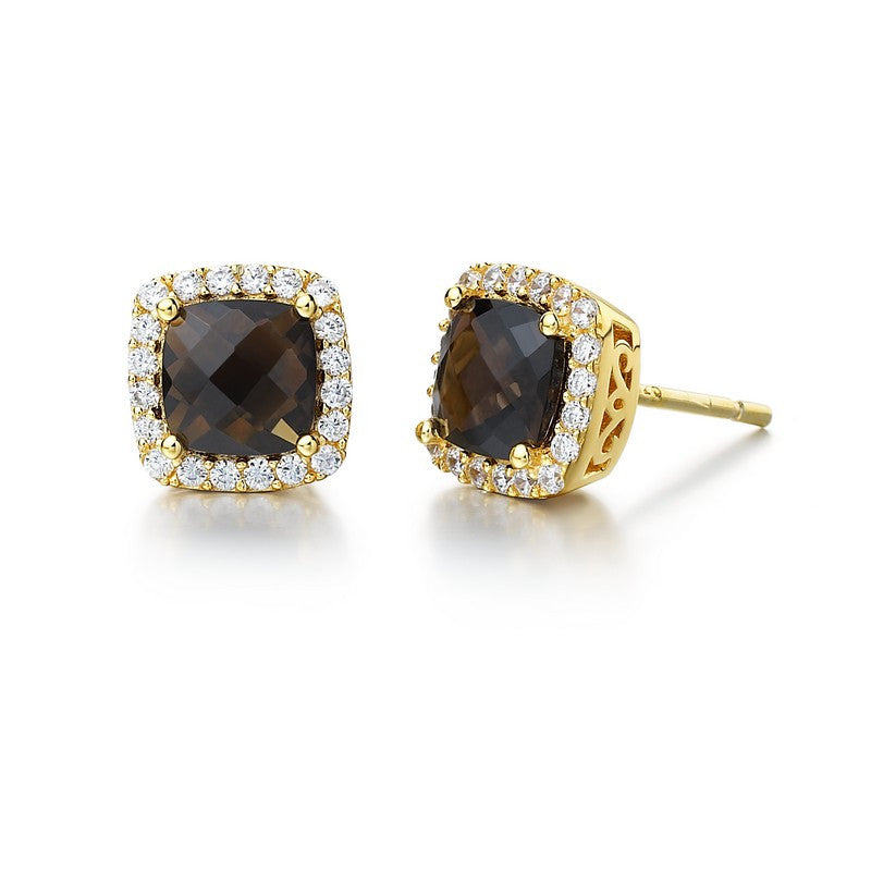 Lafonn Signature Lassaire Simulated Diamond Genuine Smokey Quartz Earrings GE007SMG00