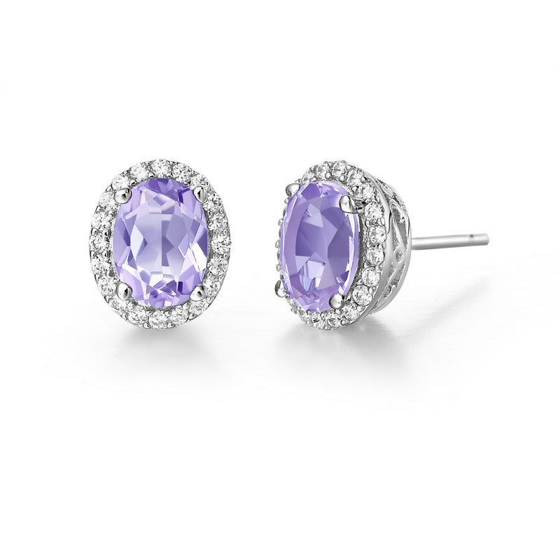 Lafonn Signature Lassaire Simulated Diamond Genuine Amethyst Earrings GE008AMP00