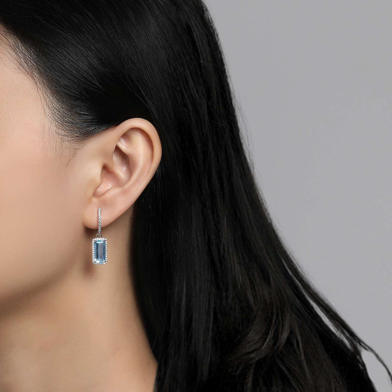 Lafonn Signature Lassaire Simulated Diamond Genuine Blue Topaz Earrings GE011BTP00