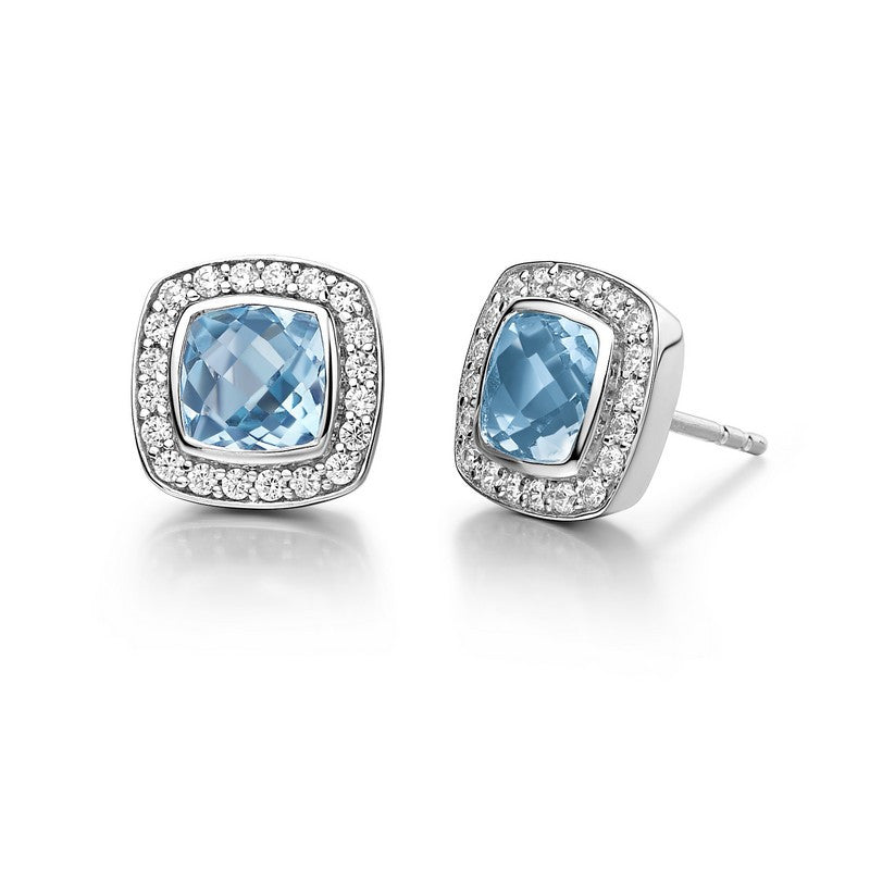 Lafonn Signature Lassaire Simulated Diamond Genuine Blue Topaz Earrings GE015BTP00