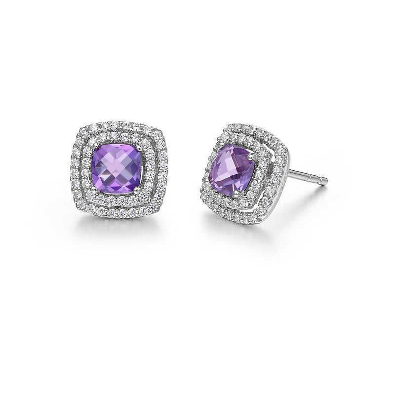 Lafonn Signature Lassaire Simulated Diamond Genuine Amethyst Earrings GE019AMP00