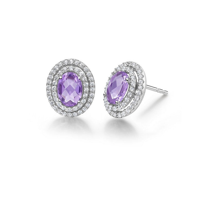 Lafonn Signature Lassaire Simulated Diamond Genuine Amethyst Earrings GE020AMP00