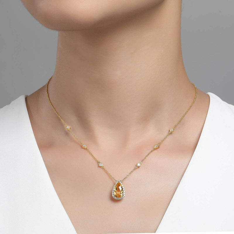 Lafonn Signature Lassaire Simulated Diamond Genuine Citrine Necklace GN001CTG18